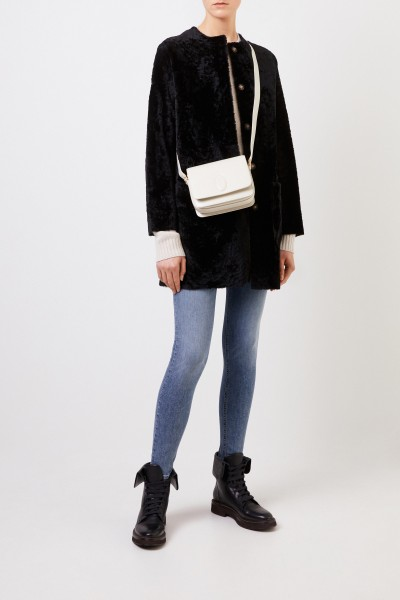 Reversible lambskin coat 'Pippa Astracan' Black