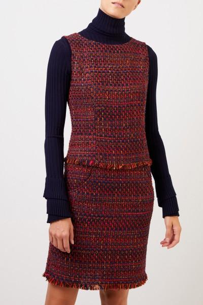 NUSCO 2107 Tweed-Kleid mit Fransen Rot/Marineblau