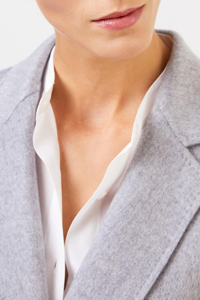 Uzwei Doubleface-Cashmere-Mantel mit Gürtel Hellgrau