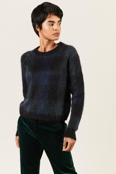 Oversize Alpaca-Pullover Blau/Grün