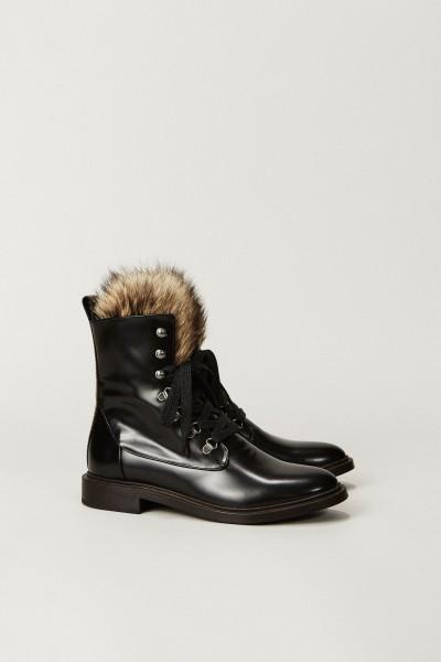 Leder-Boots mit Pelzdetail Schwarz