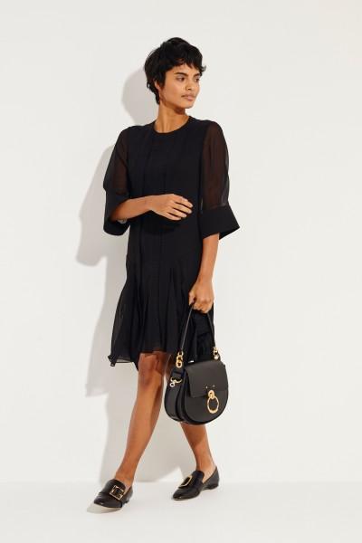 Chloé Semi-transparent dress with lace details Black