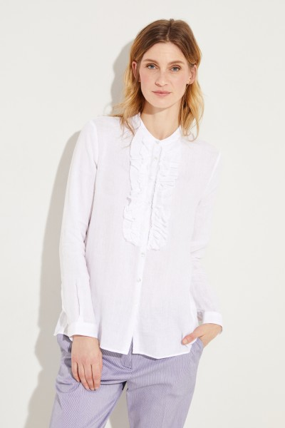 Linen blouse with frill details White