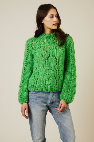 Cropped Mohair-Woll-Pullover 'The Juliard' Grün