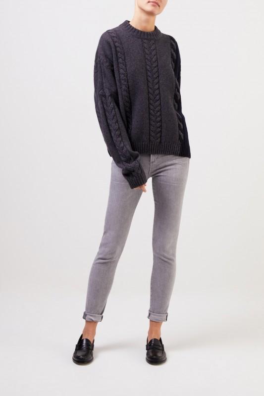 Maison Kitsuné Woll-Cashmere-Pullover mit Zopfmuster Anthrazit/Marineblau