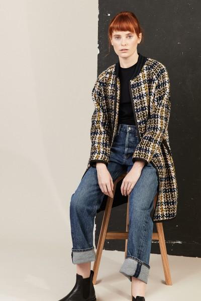 Tweed Mantel mit frontaler Druckknopfleiste Multi