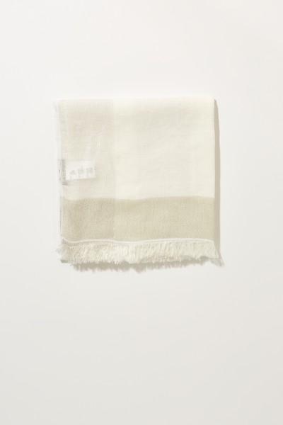 Leinen-Schal mit Fransen Weiß