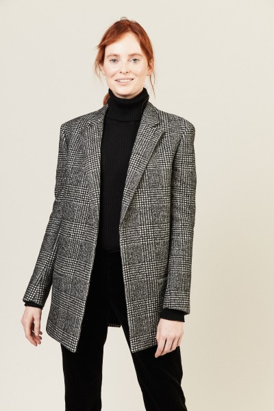 Kurzer Woll-Mantel Schwarz/Weiß