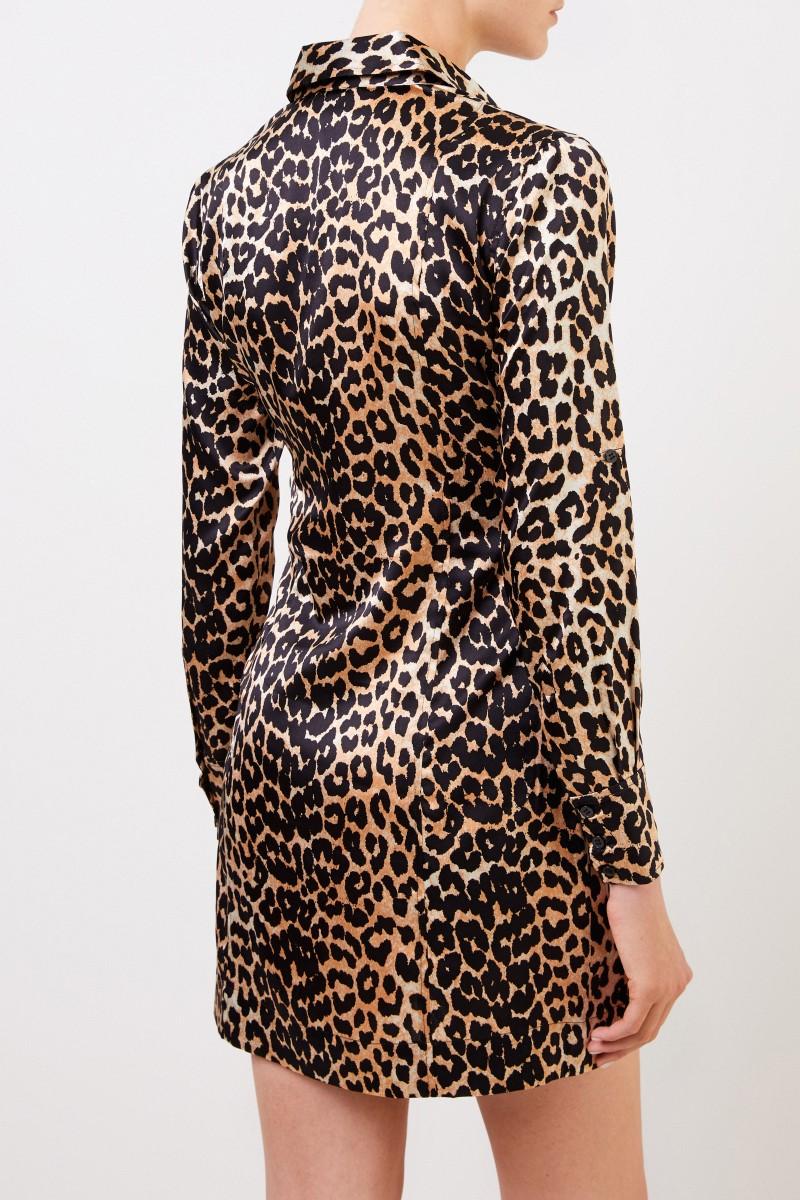 Seiden-Hemdblusenkleid mit Leoprint Multi