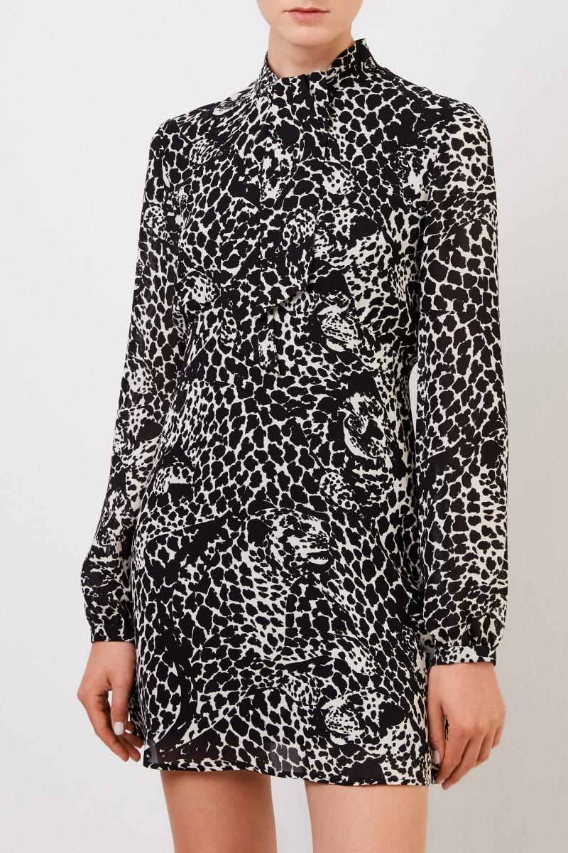 Saint Laurent Kurze Kleid mit Print Schwarz/Crème