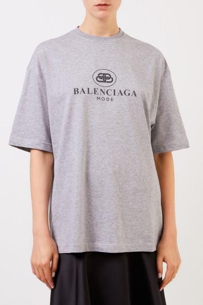 Balenciaga Oversize T-Shirt mit Logo Grau