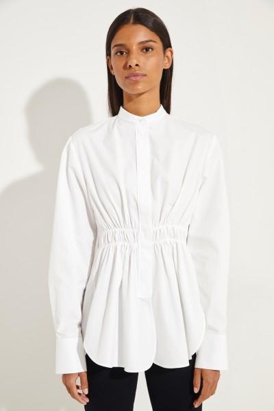 Taillierte Baumwoll-Bluse Weiß