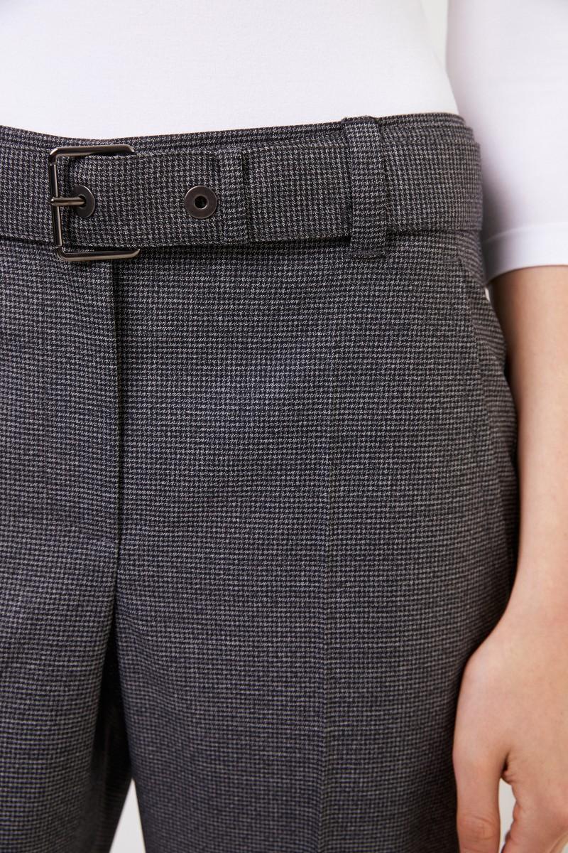 Brunello Cucinelli Woll-Hose mit Glencheckmuster und Gürtel Grau/Multi