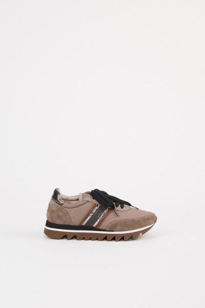 Veloursleder-Sneaker Taupe