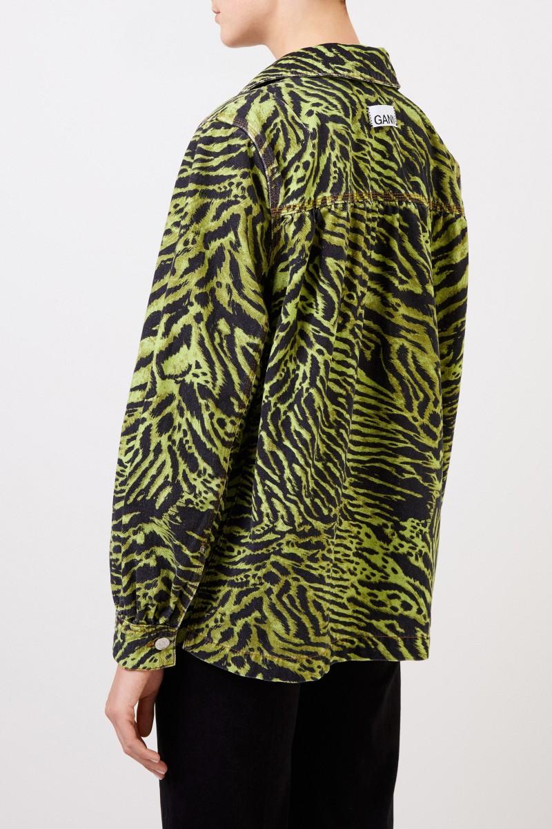 Jeansjacke mit Tiger-Print Grün/Schwarz