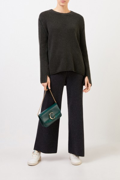 Langer Cashmere-Pullover 'Santorina' Dunkelgrün