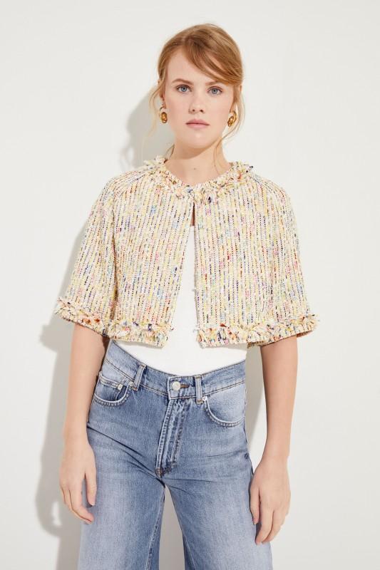 Kurzer Tweed-Blazer mit Fransen Gelb/Multi