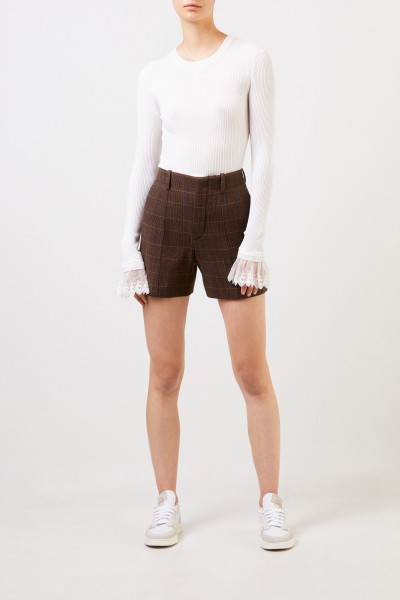 Chloé Wool shorts with checked pattern Brown/Multi