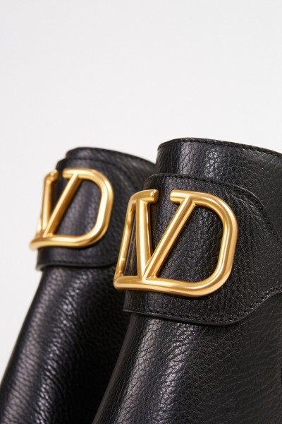 Valentino Leather ankle boot with V logo Black