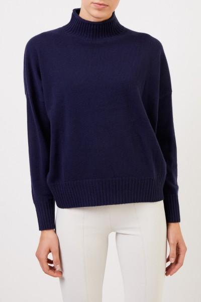 Allude Woll-Cashmere-Pullover mit Turtleneck Marineblau