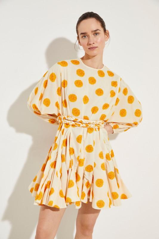 Kleid 'Ella' mit Blumenprint Créme/Orange