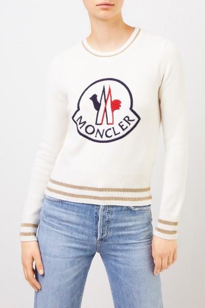 Moncler Woll-Cashmere-Pullover mit Logo Crème