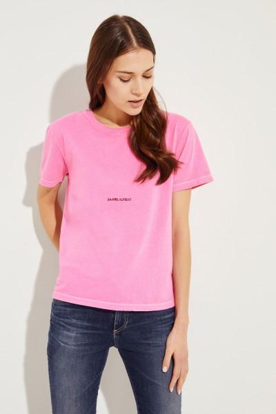 T-Shirt mit frontalem Schriftzug Pink