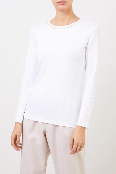Fabiana Filippi Cotton longsleeve with pearl decoration White