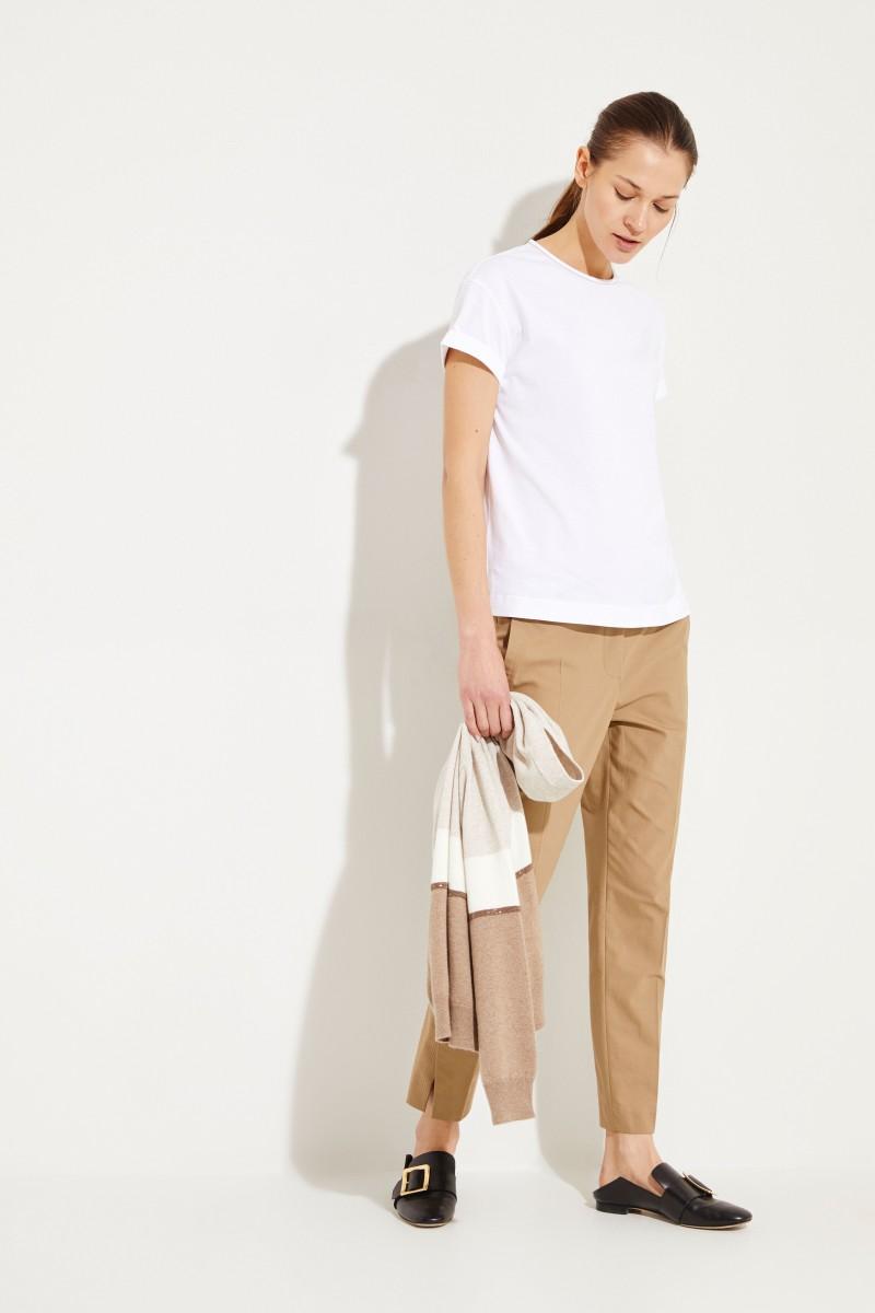 Baumwoll-Shirt mit Perlenverzierung Weiß