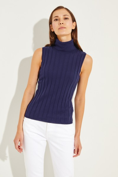 Baumwoll-Seiden-Top mit Turtle-Neck Marineblau
