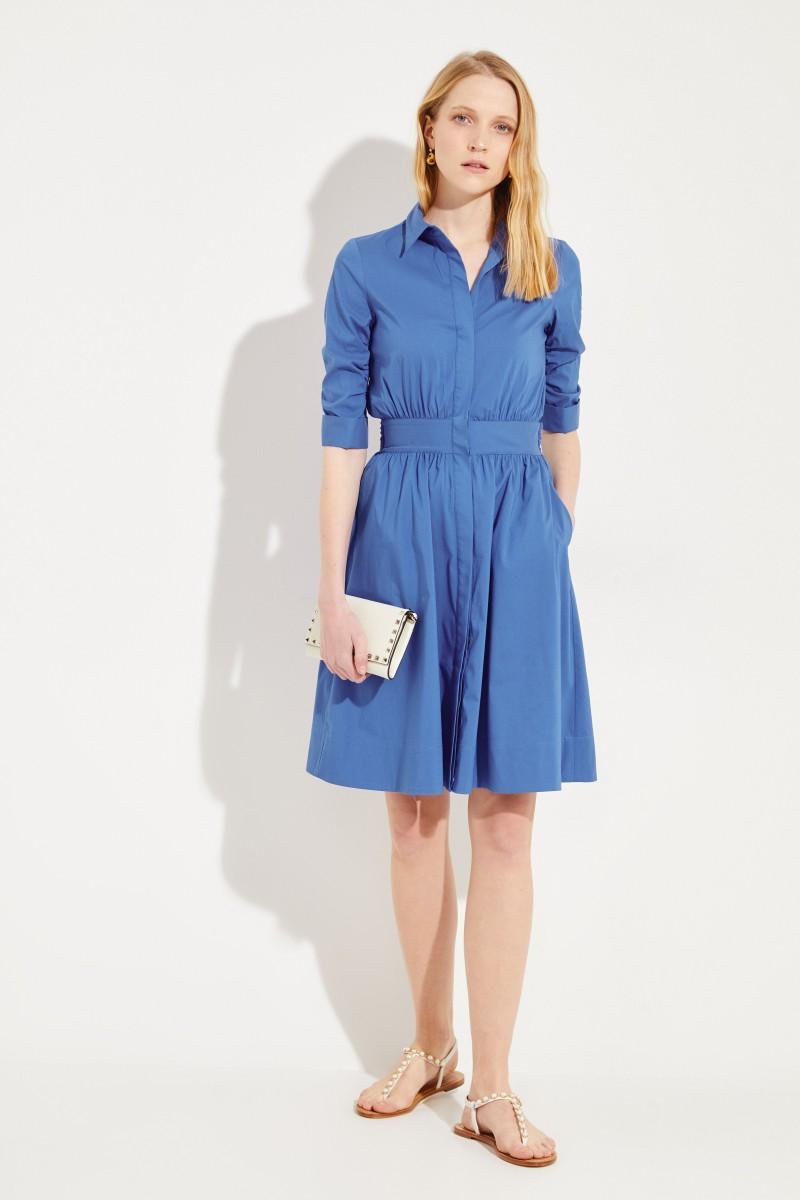 Kurzes Blusenkleid mit Bindedetail Kobaltblau