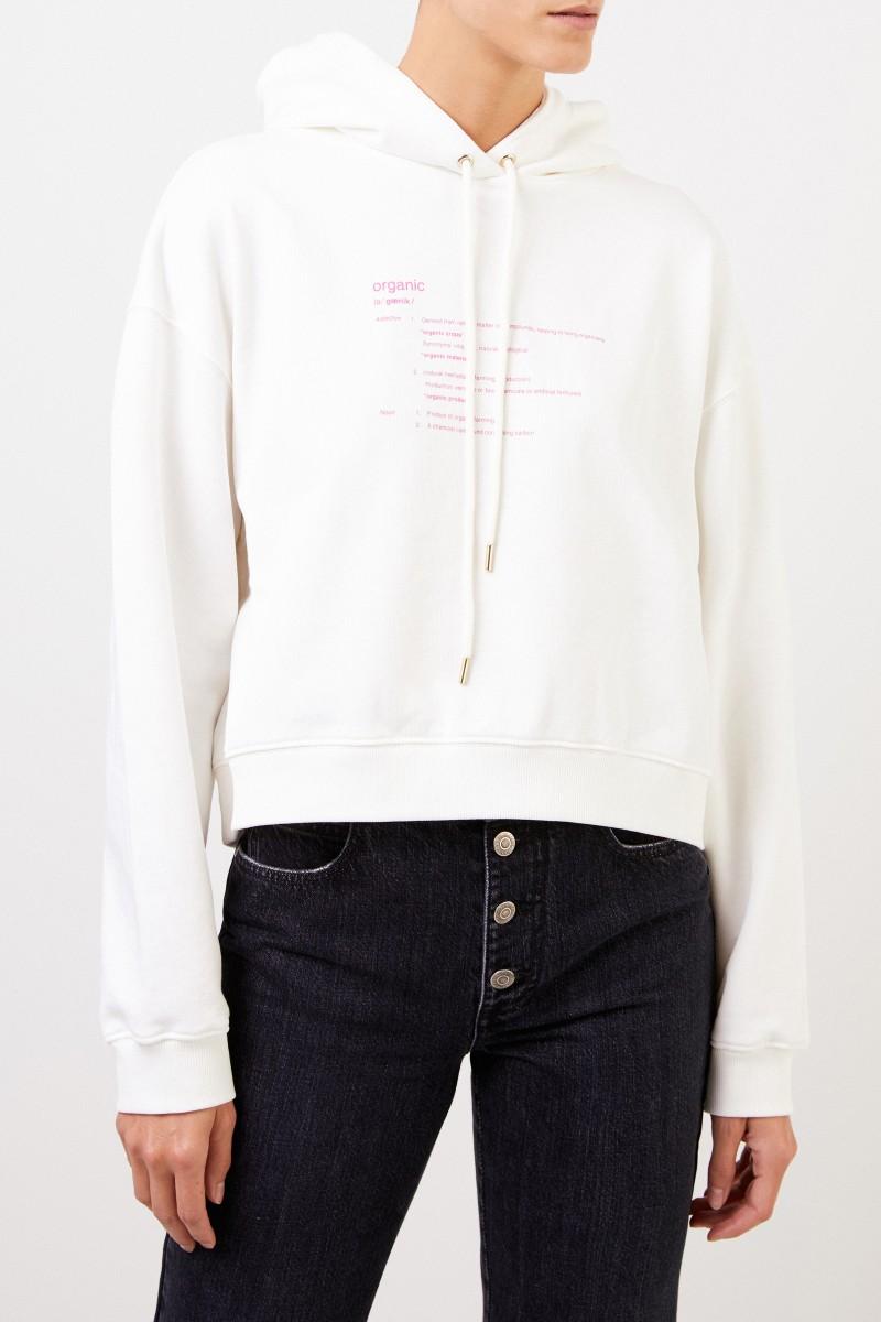 Stella McCartney Cropped Hoodie mit Aufdruck Weiß