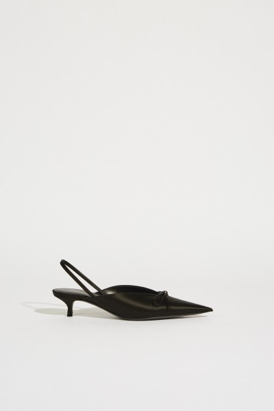Satin Slingback with Bow Black