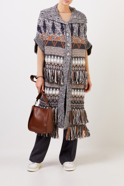 Stella McCartney Long Patterned Wool Coat Multi