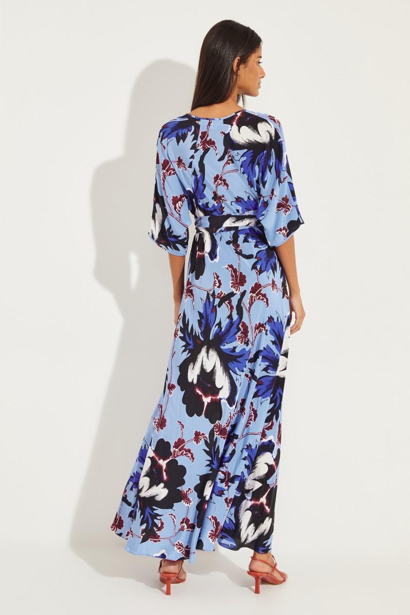 Seiden-Wickelkleid 'Eloise' mit Print Blau/Multi