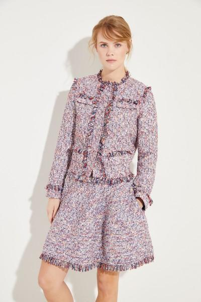 Tweed-Blazer mit Fransen Blau/Multi