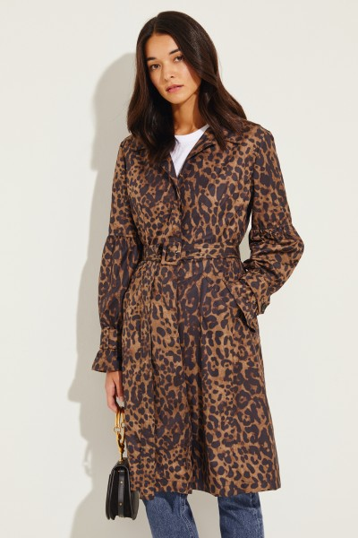 Short coat with leoprint Brown/Black