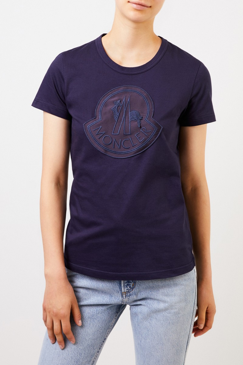 Moncler Baumwoll-Shirt mit Logo Marineblau