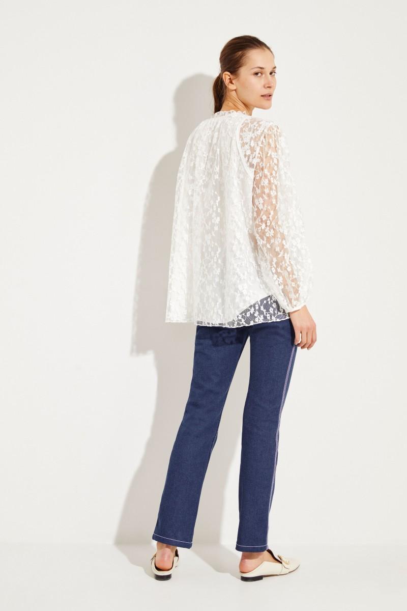 2c46853f2988c4 Cotton lace blouse Iconic Milk   Blouses   Clothing   unger-fashion.com