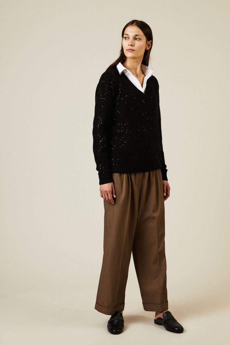 Cashmere-Seiden-Pullover mit Pailletten Schwarz
