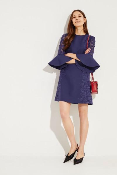 Valentino Midi-Kleid mit Spitze Marineblau