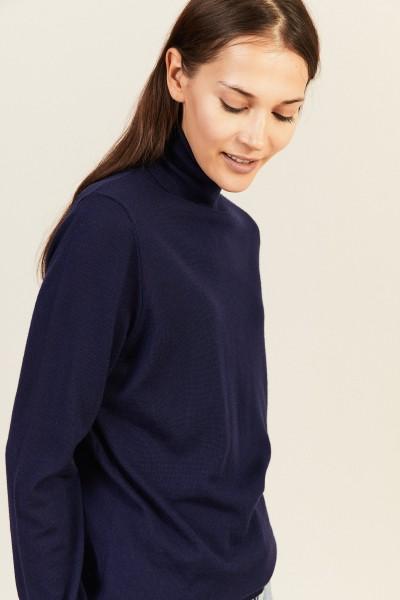 Woll-Rollkragenpullover Blau