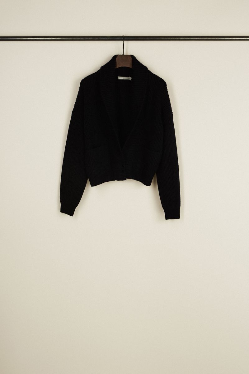Rippstrick-Woll-Pullover Dunkelblau