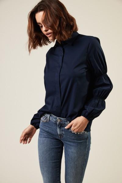 Bluse mit gepufftem Ärmel Marineblau