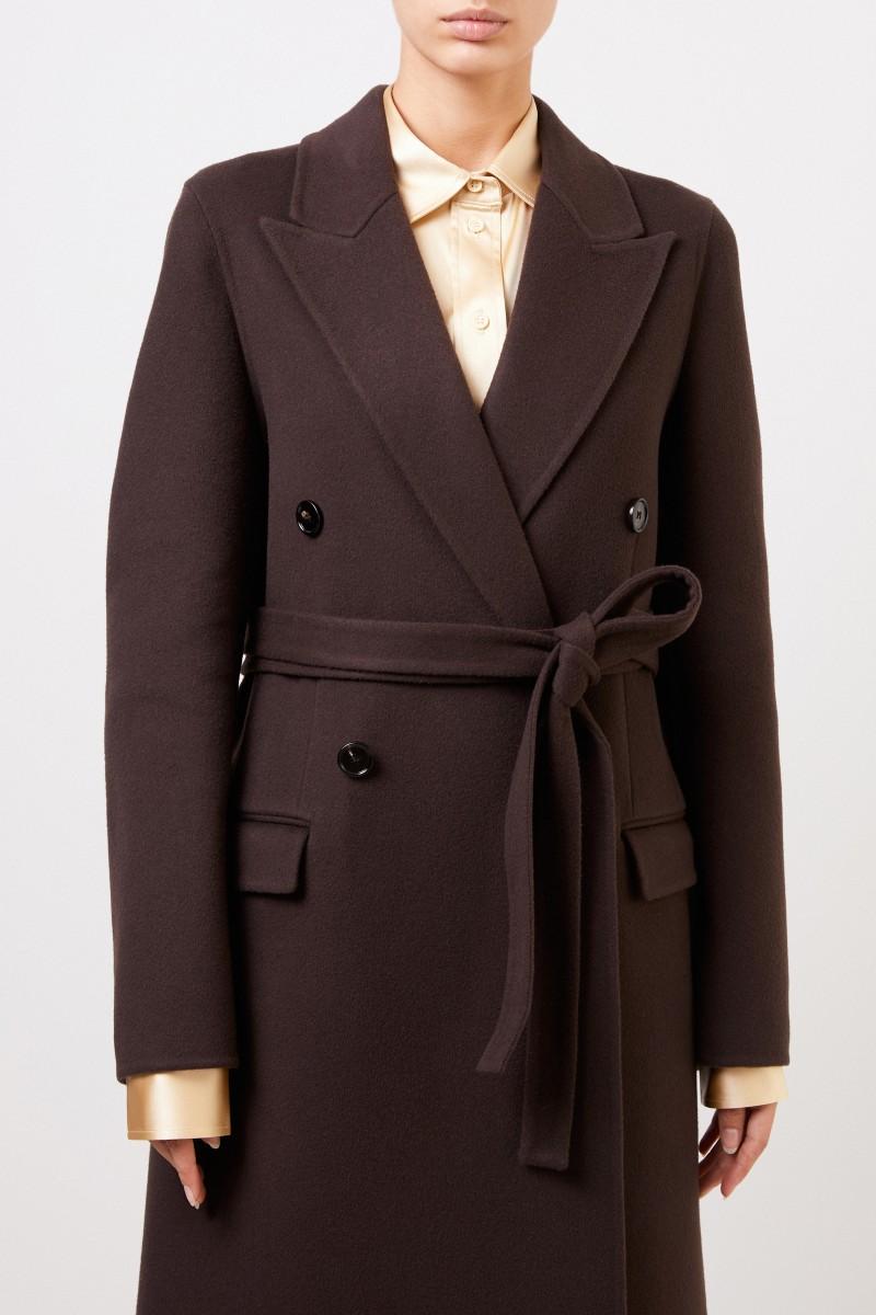 Bottega Veneta Langer Woll-Mantel mit Gürtel Dunkelbraun