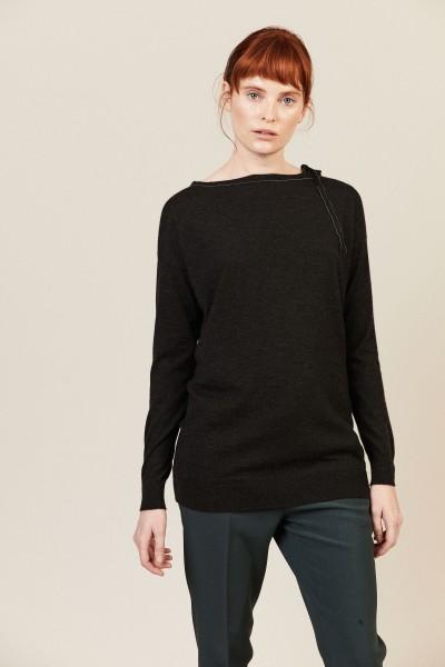 Cashmere-Pullover mit Perlendetails Anthrazit