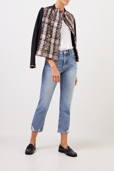 Tory Burch Tweed-Jacket with fringes Multi