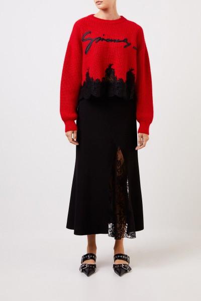 Mohair-Pullover mit Spitzendetails Rot/Schwarz