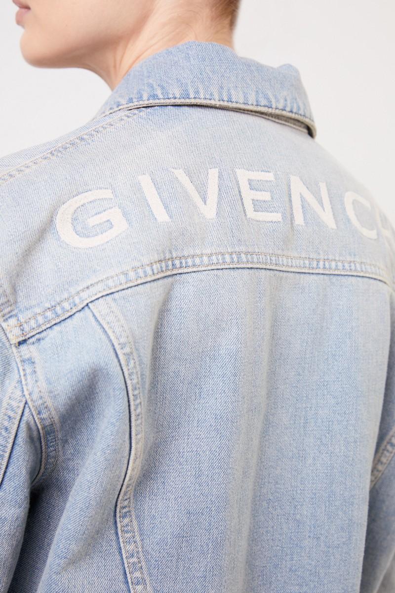 Jeansjacke mit Logo-Schriftzug Hellblau