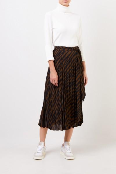 Pleated skirt with print Khaki/Black